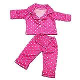 2teilig/Set Puppen Schlafanzug Oberteil & Hose Nachtwäsche für 18 Zoll Puppe Zubehör - Rosa