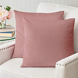 Best The Connecticut Home Company Original Velvet Pillowcases, Set of 2, Decorative Case Sets, Many Colors, Square Throw Pillow Covers, Cases for Living Room, Bedroom, Couch, Sofa, Bed, 18x18, Dusty Pink Review