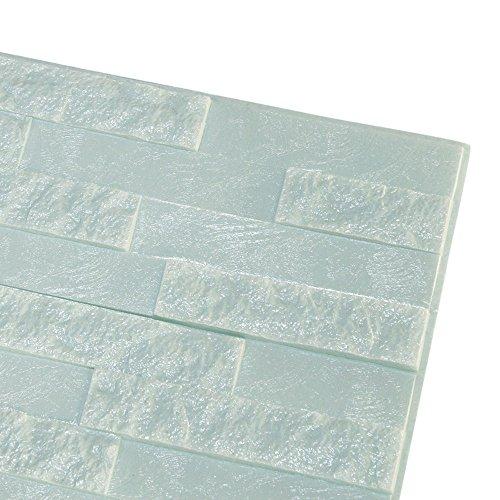 Moent Pe Foam 3D Wallpaper DIY Wandaufkleber Wanddekoration Geprägter Ziegelsteinkleber, Pe Foam Fliesen Wandaufkleber 3D Stereo Wandaufkleber Hellblau