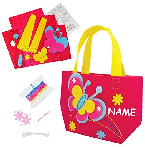 alles-meine.de GmbH Bastelset - Filz Tasche -  Schmetterlinge & Blumen  - zum Sticken, einfaches Nähen per Hand - incl. Name - Filztasche - Komplettset filzen - Creativ - Filzs..