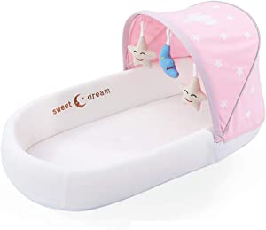 Snow Yang Baby Bassinet for Bed Diaper Changing Bed Baby Lounger Breathable  amp  Hypoallergenic Co-Sleeping Baby Bed 100  Cotton Portable Crib for Bedroom Travel Baby Lounger