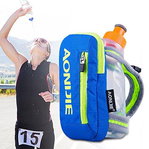 AONIJIE - Bolsa de hidratación de mano para maratón con 1 botella de agua de 250 ml, color azul