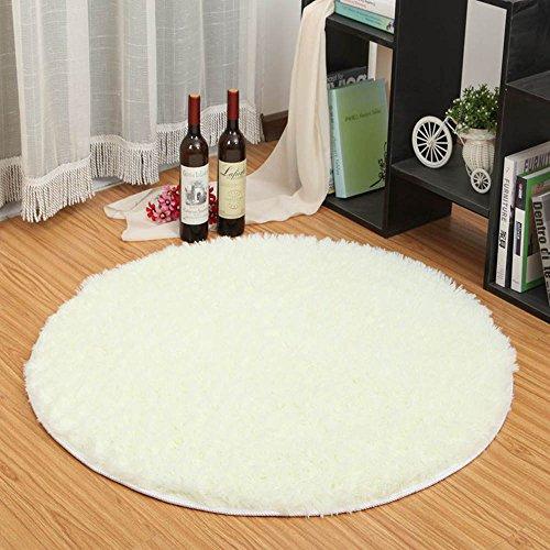 htdirect dormitorio alfombra Super suave moderno circular sala de estar alfombras Shaggy alfombra redonda de la alfombra jugar Nursery decorativo para baño habitaciones, blanco, 120CMx120CM