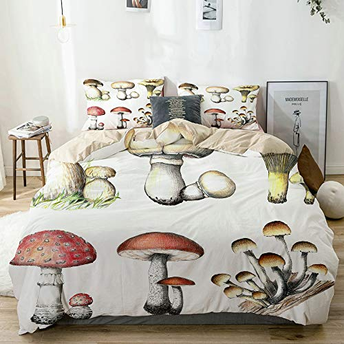DAHALLAR Juego de ropa de cama, microfibra, beige, pintura al lápiz, 1 funda nórdica de 135 x 200 cm y 2 fundas de almohada