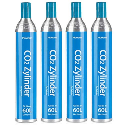 Homewit 4X CO2 Zylinder | erstbefüllt in Deutschland | Pro Füllung bis zu 60 L Sprudelwasser | geeignet für SodaStream(z.B. SodaStream Crystal, Easy, Power & Cool) Wassersprudler usw.