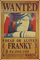 海賊アニメFRANKYフランキー さびた錫のサインヴィンテージアルミニウムプラークアートポスター装飾面白い鉄の絵の個性安全標識警告バースクールカフェガレージの寝室に適しています