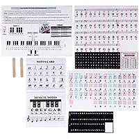 EXCEART ピアノ2セットを学ぶ初心者の子供のための61キーのカラフルな大きな文字の透明な取り外し可能なピアノキーボードステッカー
