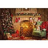 king do way Fondo de Fotografía de Navidad 2.4X3M, Fondo de Decoración de Pared con Fireplace, Arboles de Navidad e Medias Rojas, Navideño Retrato de Fotografía, Paisaje de Fondo de Vinilo