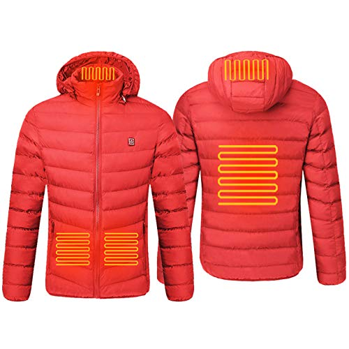 Padaleks Men Heated Coat with Detachable Hood Winter USB Charging Electric Warm Thick Outdoor Sports Puffer Down Jacket (Battery NOT Included)