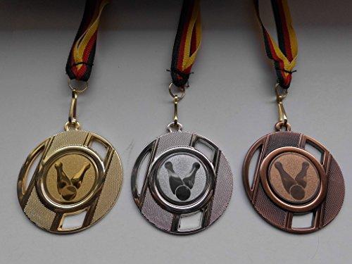 Fanshop Lünen Medaillen Set - mit Metall 50mm - Kegeln - Kegler - Gold Silber Bronze - mit Alu Emblem 25mm - Medaillenset - mit Medaillen-Band