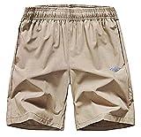 EXEKE Men's Quick Dry Shorts Gym Workout Shorts Lightweight Running Shorts with Zipper Pockets 252-1XL/Khaki 30-32