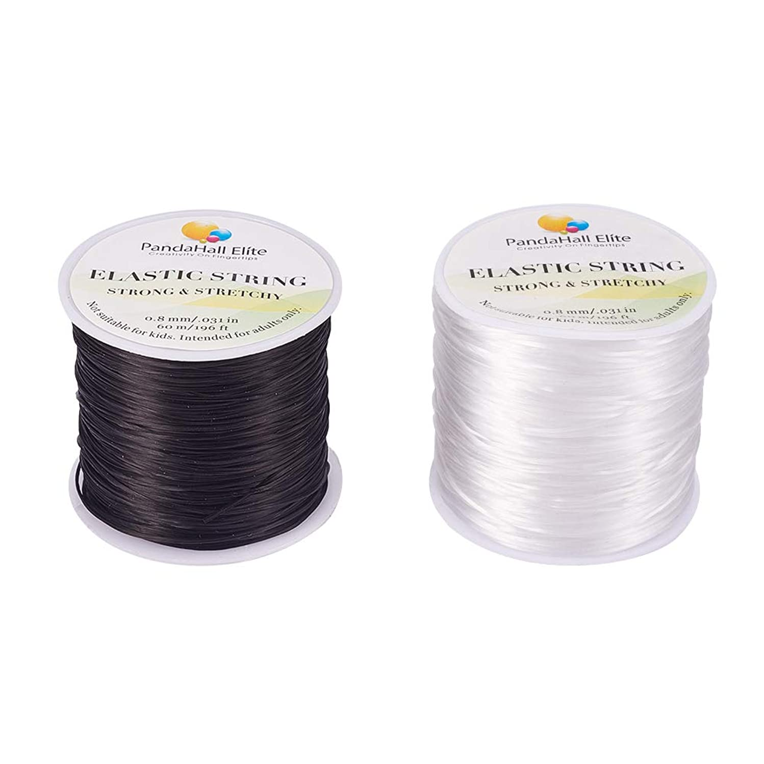 PH PandaHall 2 Rolls 0.8mm Black & White Elastic Stretch String Cord Polyester Jewelry Bracelet Making Beading Thread (About 60m/Roll)