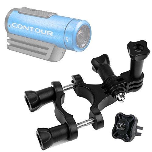 DURAGADGET Durable Contour Action Camera Handlebar Mount Bike Handlebar Mount for Contour +2, Contour Roam 2 & Contour Roam - Plus Bonus GoPro Screw Thread Adapter!