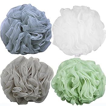 Goworth Large Bath Shower Sponge Pouf Loofahs 4 Packs 60g Each Eco-friendly Exfoliating Mesh Brush Pouf Bath Shower Ball Sponge 4 Colors-Exfoliate Cleanse Soothe Skin