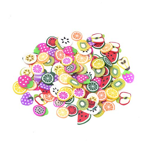PandaHall 2000pcs Fruit Shape Handmade Polymer Clay Slices Without Hole for Nail Art Decoration Slime DIY Crafts, Colorful