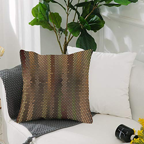 Washable Cushion Covers 20x20 Inch,Earth Tones,Party Entertainment Theme with Iconic Disco Ball Inspired Pattern Dotted Print,,Square Decorative Throw Pillowcases for Livingroom Sofa Bedroom 50cmx50cm