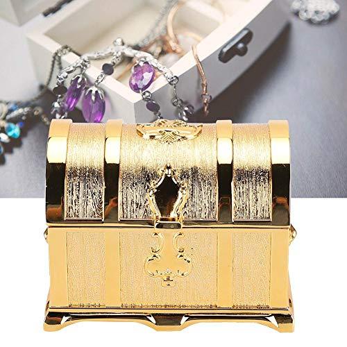 Duevin Caja de joyería Caja de joyería, Cofre del Tesoro Retro Estilo Europeo Dorado