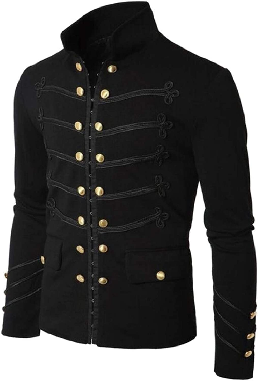 - Fensajomon Men Classic Gothic Double-Breasted Victorian Victorian Victorian Stand Collar Jacket ee2d92