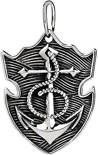 Yiffshunl Collar sólido Collar de Moda Vintage 925 Collar de Ancla náutica de Plata esterlina para Hombres Mujeres Colgante