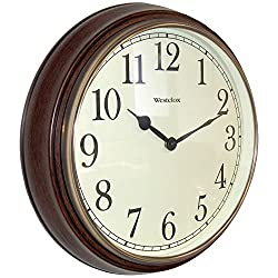 Westclox Quartz Wall Clock 15.5 Brown Quartz Movement Glass