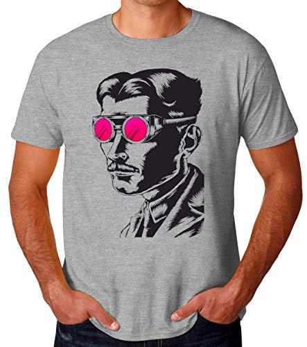 Brenos Design Nikola Tesla Glasses Portrait Camiseta para Hombres XX-Large