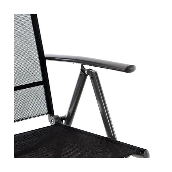 Nexos SC00061_SL2_JM 2er Set Klappstuhl schwarz Aluminium 7-Fach-verstellbar Gartenstuhl mit Armlehne…