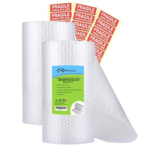 Air Bubble Cushioning Wrap Roll for Heavy-Duty Packing [12 Inch x...