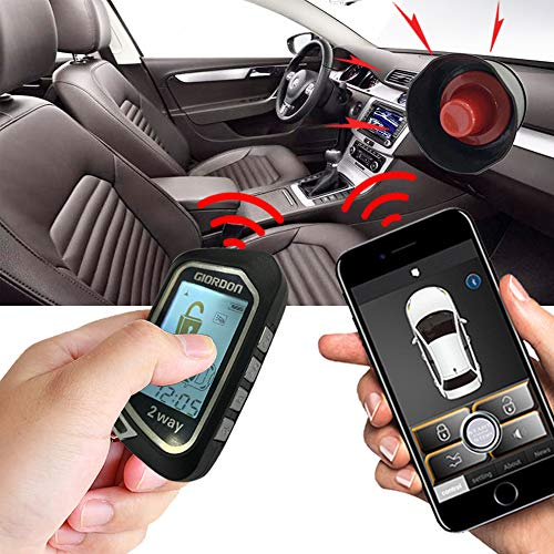 Two Way Car Alarm Security System 1600 feet Range for Car with Remote Start System Mobile Phone or Remote Key Control Not for The Car with One Key Start