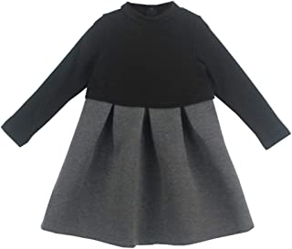 Xifamniy Little Girls Autumn&Winter Thicken Dress Fashion Stitching Plus Velvet Skirt