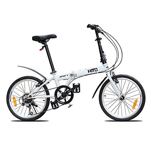 Bicicleta, Bicicleta de Ocio PortáTil, Bicicleta de Viaje Plegable, Marco de Acero con Alto Contenido de Carbono, Ruedas de 20 Pulgadas, Asiento Ajustable, para Adultos/Estudiantes/A /