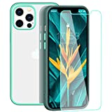 zelaxy Case Compatible with iPhone 12 Pro Max case with Screen Protector,Protective Anti-Slip Anti-Yellow Clear Transparent Case with Colorful Bumper for iPhone 12 Pro Max 6.7 inch (Gray)