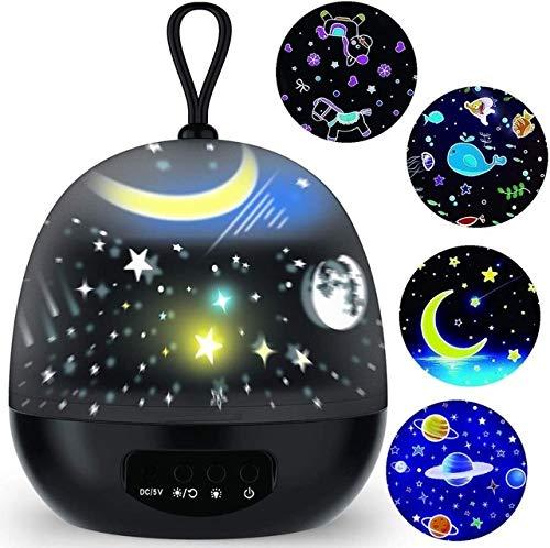 JIAHUI Proyector Ligero de la delicadeza 4 Set Films 360 ° Rotación de 8 Modos de iluminación Luces de la Noche de la lámpara LED for el bebé, decoración del Dormitorio (Color : Black)