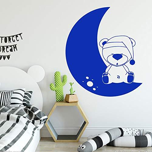 Kinderzimmer klassische Bär Mond Aufkleber Dekoration PVC Aufkleber Wandtattoo Aufkleber Wandbild Schlafzimmer Dekoration Wandaufkleber A6 L 43cm X 50cm