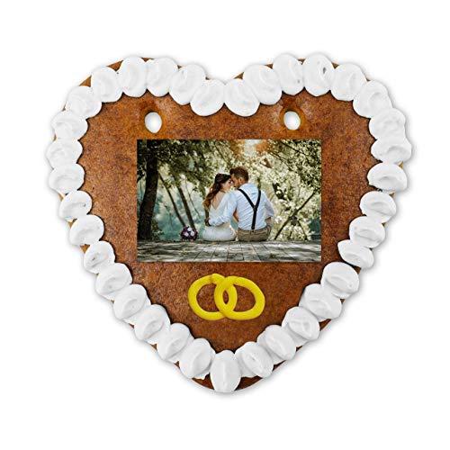 Personalisierbare Lebkuchenherzen mit Hochzeits-Foto zum online gestalten | jetzt Lieblings-Foto hochladen und gleich bestellen | für Braut & Bräutigam | tolles Hochzeitsgeschenk | LEBKUCHEN-WELT