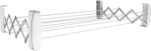 Leifheit 83304 Teleclip 100 Stendibiancheria A Parete, Ripiegabile, Bianco, 7.4 m