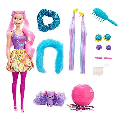 Barbie Color Reveal Peinados Cupcake, muñeca sorpresa de juguete con accesorios para el pelo y mascota (Mattel HBG39)