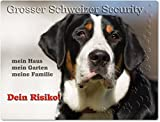 Merchandise for Fans Warnschild - Schild aus Aluminium 20x30cm - Motiv: Grosser Schweizer Sennenhund Security (01)