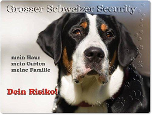 Merchandise for Fans Warnschild - Schild aus Aluminium 20x30cm - Motiv: Grosser Schweizer Sennenhund Security (01)