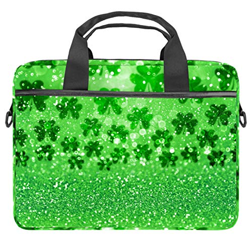 13-14.5 Inch Laptop Sleeve Case Green Glitter Sparkle Irish Shamrock Clovers Protective Cover Bag Portable Computer Notebook Carrying Case Briefcase Message Bag