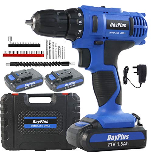 ZanGe Heavy Duty Cordless Combi Drill Driver Electric Screwdriver Complete 21V Variable Speed 2 Li-ion Rechargeable Battery Bits 45 N.m Fast Charger LED Work Light