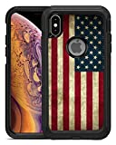 Teleskins Protective Designer Vinyl Skin Decals / Stickers Compatible with Otterbox Defender iPhone Xs Max Case -Grunge USA American Flag Design Patterns - only Skins and not Case