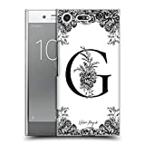 Head Case Designs Oficial Nature Magick Letra G B & W Floral Monograma 1 Carcasa rígida Compatible con Sony Xperia XZ Premium