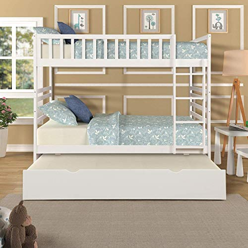 Solid Wood Floor Bunk Beds Twin Over Twin Size with Trundle and Built-in Support Slats, Space-Saving Design, with 4-Step Ladder and Guard Rail, Retro and Modern Looking, U.S.A Local Warehouse