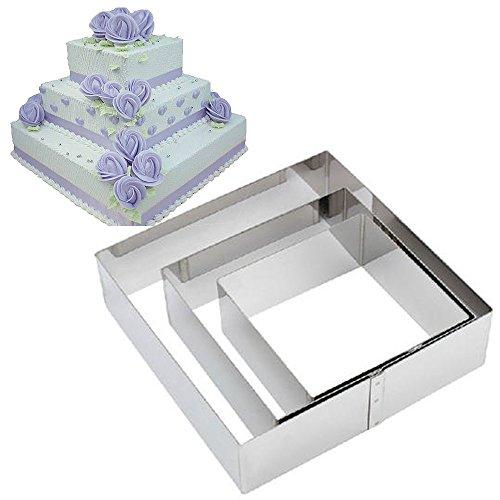 TAMUME Acciaio Inossidabile Anelli per Torte Piazza per Muffa di Torta Mousse Ring Mold Ideale per Set di Muffa Torta di Matrimonio e Stampo di Dessert - Set di 3 (Piazza)