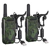 Neoteck 2X Walkie Talkie Recargable 16 Canales Bloqueo Vox Manos Libres Ski Walkie Talkies con Auricular para Niños Adultos
