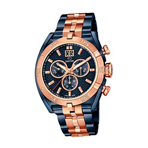 JAGUAR Reloj Modelo J810/1 de la colección Special Edition, Caja de 45,8 mm Correa de Acero Azul/Rosa para Caballero