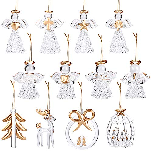 Elcoho 12 Pieces Glass Angel Ornaments, Hanging Angels Tree Ornaments, Glass Art Prayer Guardian for Christmas Tree Decorations