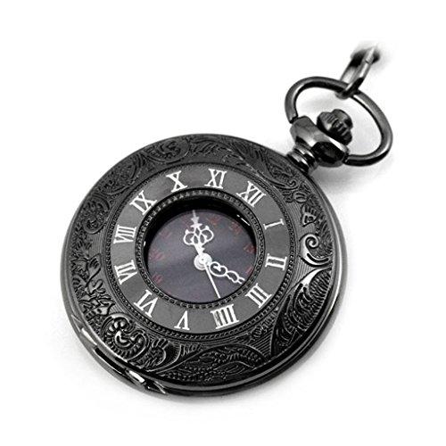 Baoblaze Reloj de Bolsillo Antiguo Reloj de Bolsillo con Tapa de Resorte Movimiento de Cuarzo Negro