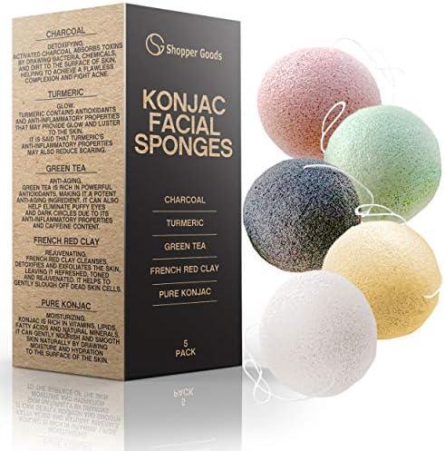 Konjac Sponge 5 Pack Natural Eco Friendly Reusable Makeup Remover Pads Sponge Facial Exfoliator product image