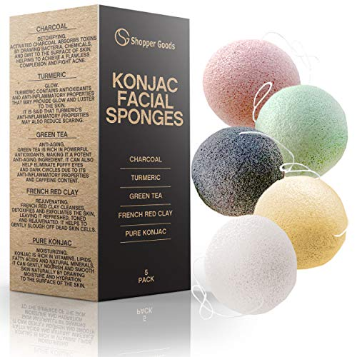 Konjac Sponge (5 Pack) | Natural Eco-Friendly & Reusable | Makeup Remover Pads/Sponge | Facial Exfoliator Wash/Scrub & Skin Cleanser | Charcoal, Turmeric, Green Tea, French Red Clay, Pure Konjac (Misc.)